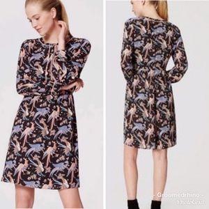 LOFT Long Sleeve Peacock Snowbird Dress